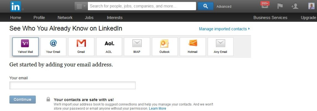 Import Emails Into LinkedIn From Major Hosts