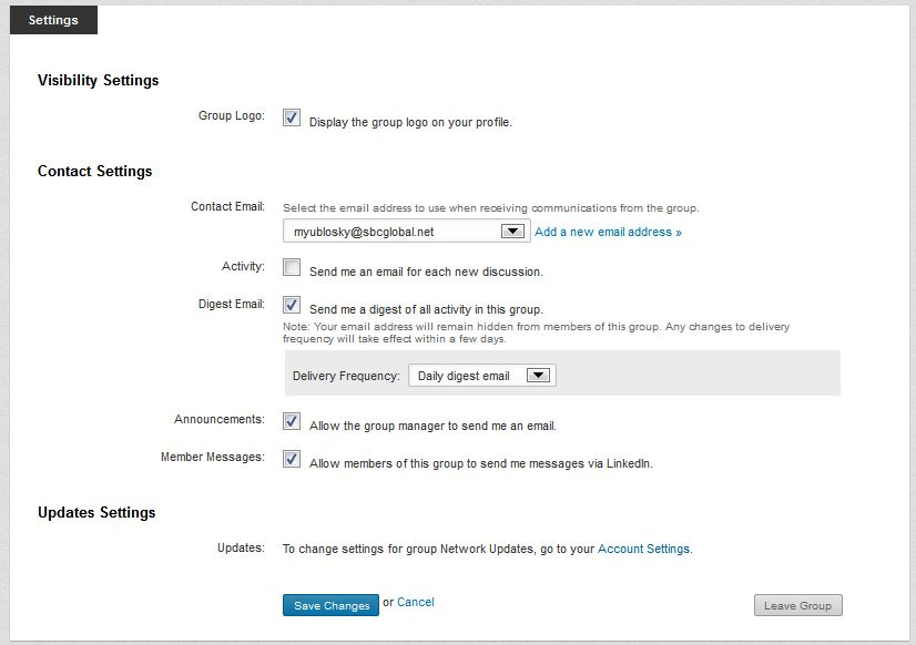 Options For LinkedIn Group Settings