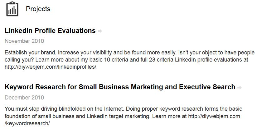 how to delete linkedin sections