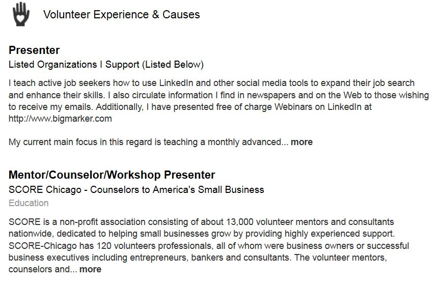 LinkedIn Section - Volunteer Experience & Causes