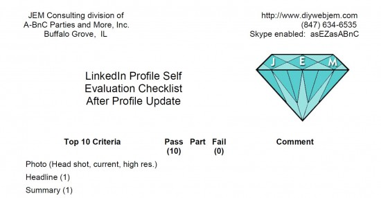 My New  Linkedin Profile Self Evaluation Form