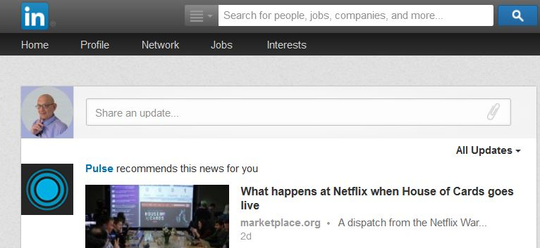 Share An Update On Your LinkedIn Home Page