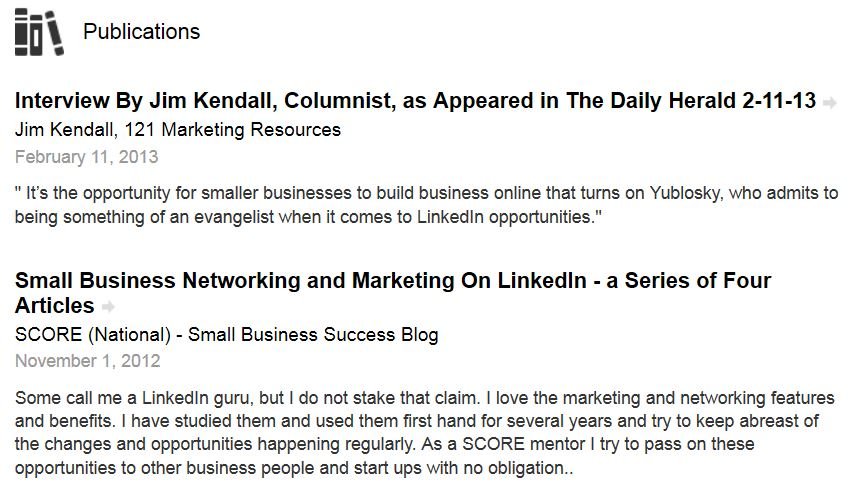 LinkedIn Section - Publications