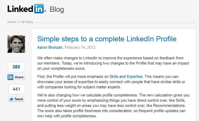 LinkedIn Changes For A 100% Complete Profile Feb. 14, 2012