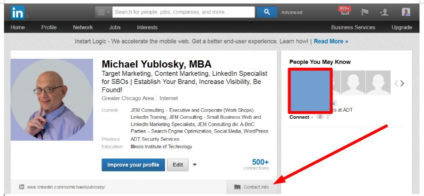 Reveal Contact Information On LinkedIn Profile