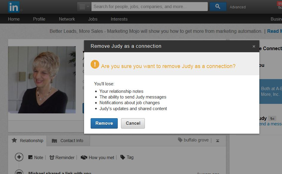 Remove A LinkedIn Connection Prompts