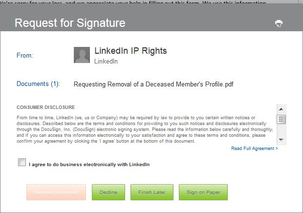 Agree To LinkedIn Terms To Report Deceased Member