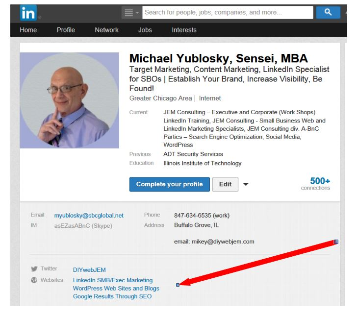 LinkedIn Profile Highlight Box With Web Site Links