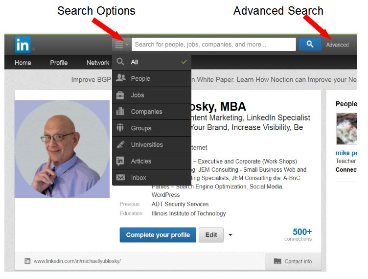 LinkedIn Search Menu Pulldown Options